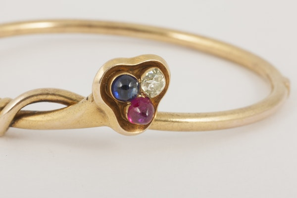 Antique Bangle/Bracelet 18 Carat Gold, Diamond, Ruby and Sapphire, *English circa 1890. - image 5