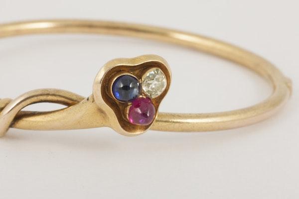 Antique Bangle/Bracelet 18 Carat Gold, Diamond, Ruby and Sapphire, *English circa 1890. - image 5