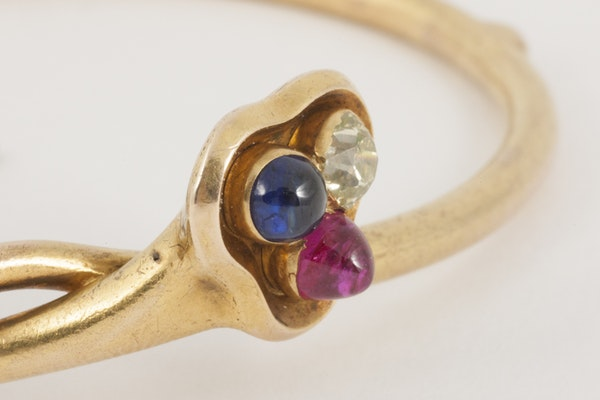 Antique Bangle/Bracelet 18 Carat Gold, Diamond, Ruby and Sapphire, *English circa 1890. - image 2