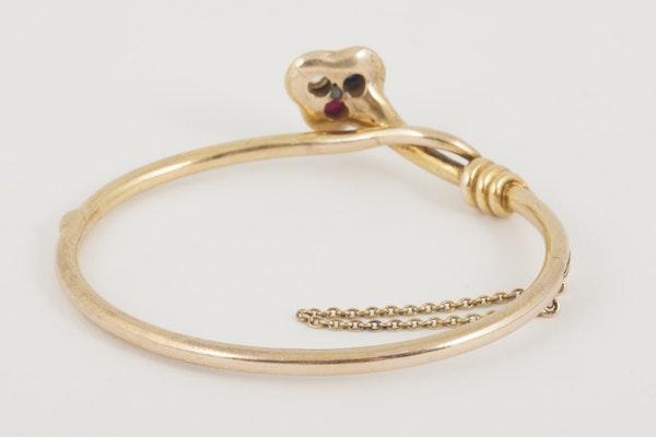 Antique Bangle/Bracelet 18 Carat Gold, Diamond, Ruby and Sapphire, *English circa 1890. - image 4