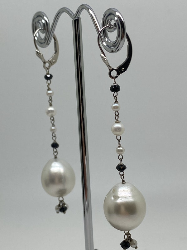 18K white gold Pearl Earrings - image 2