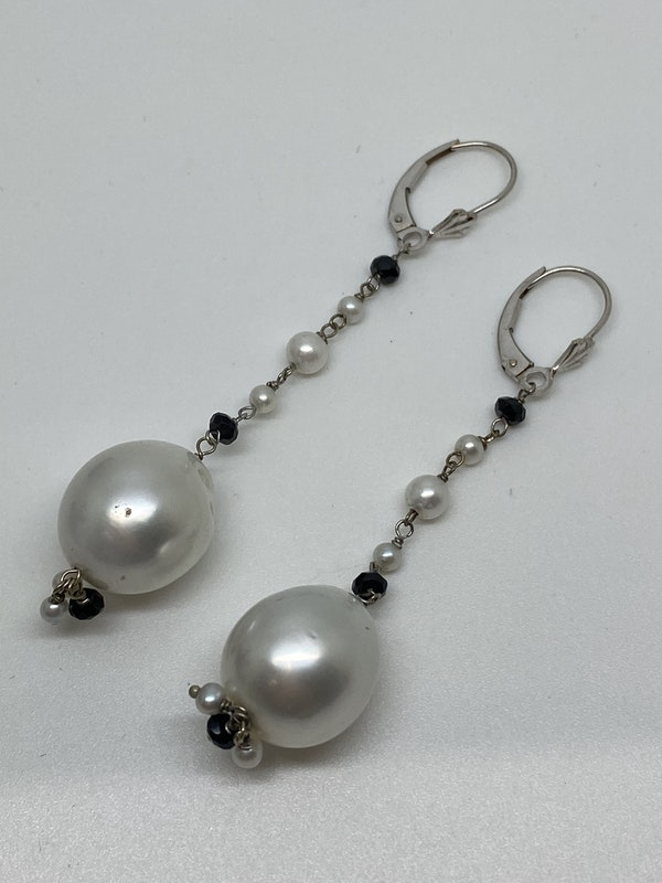 18K white gold Pearl Earrings - image 3