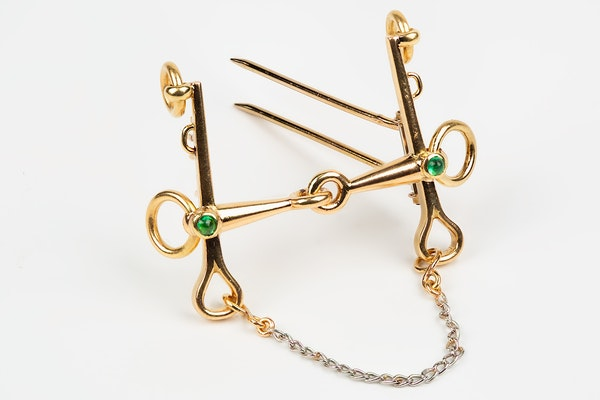 Vintage Equestrian Brooch by Mellerio of Paris, Driving Bit in 18 Karat Gold, French circa 1950. - image 2