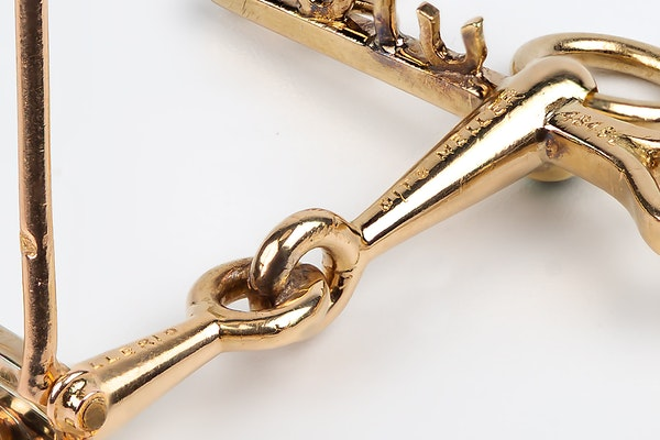 Vintage Equestrian Brooch by Mellerio of Paris, Driving Bit in 18 Karat Gold, French circa 1950. - image 5