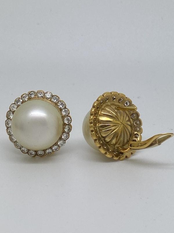 18K yellow gold Diamond and Pearl Earrings - image 2