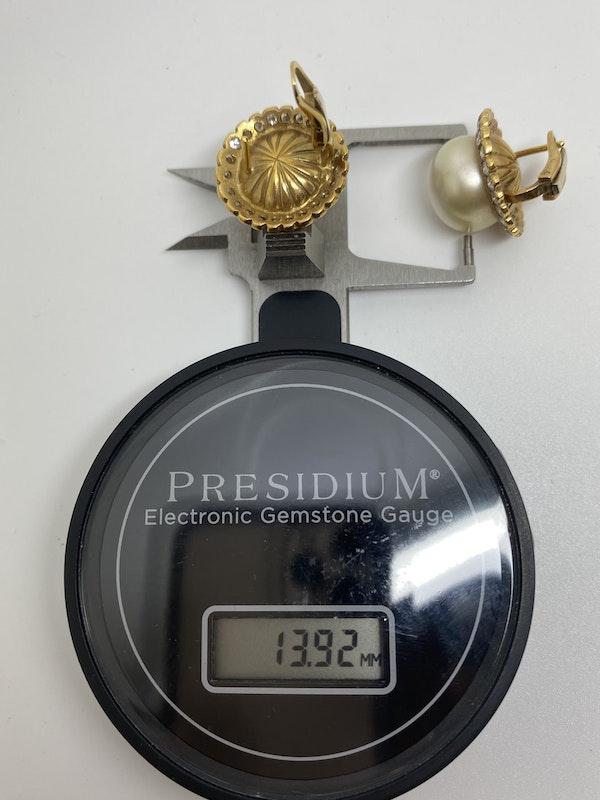 18K yellow gold Diamond and Pearl Earrings - image 3