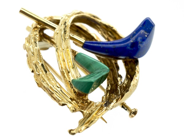 Vintage Chaumet of Paris Gold Golfing Clip Brooch with Lapis Lazuli & Malachite, French circa 1960. - image 3