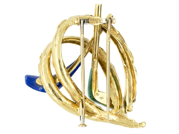 Vintage Chaumet of Paris Gold Golfing Clip Brooch with Lapis Lazuli & Malachite, French circa 1960. - image 2