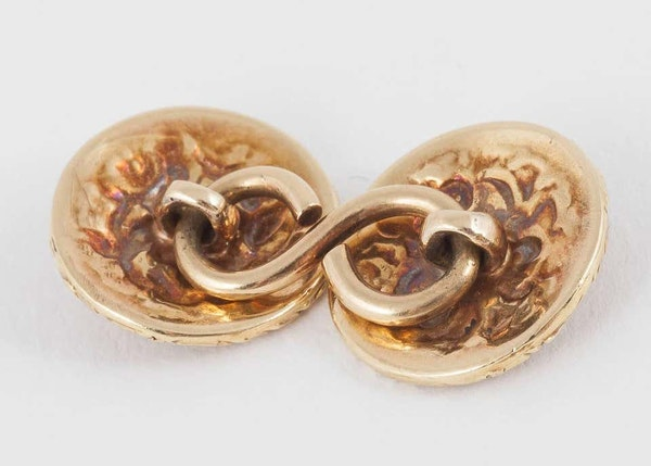 Antique Carved Gold Floral Cufflinks with Turquoise Centre, English circa 1840. - image 3