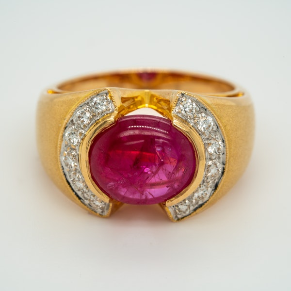 Cabochon ruby and diamond  ring - image 1