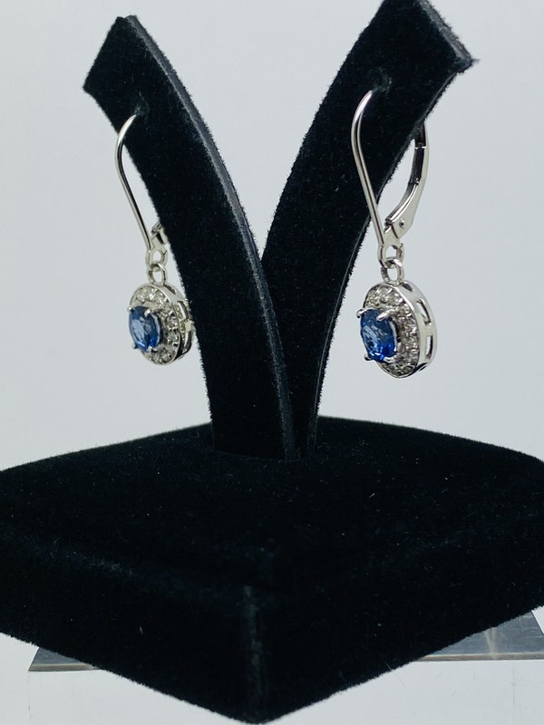 14K white gold Diamond and Natural Blue Sapphire Earrings - image 3