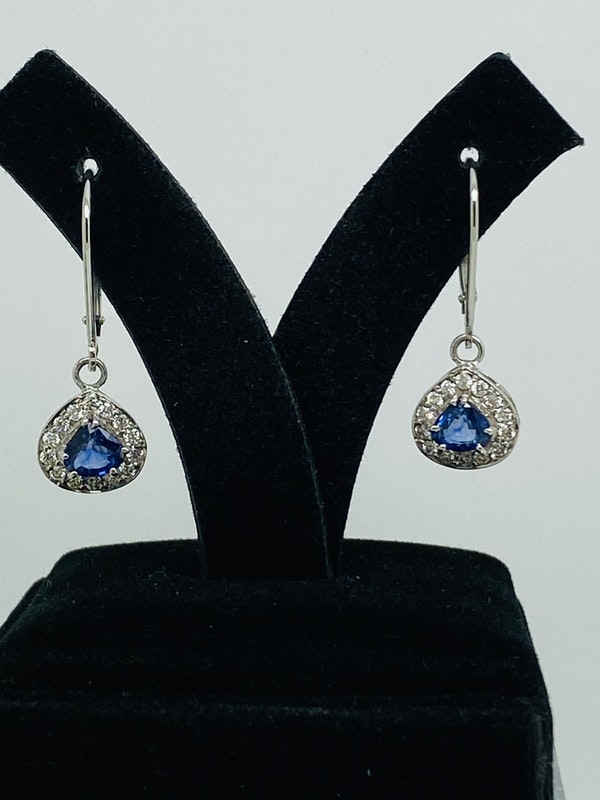 14K white gold Diamond and Natural Blue Sapphire Earrings - image 2
