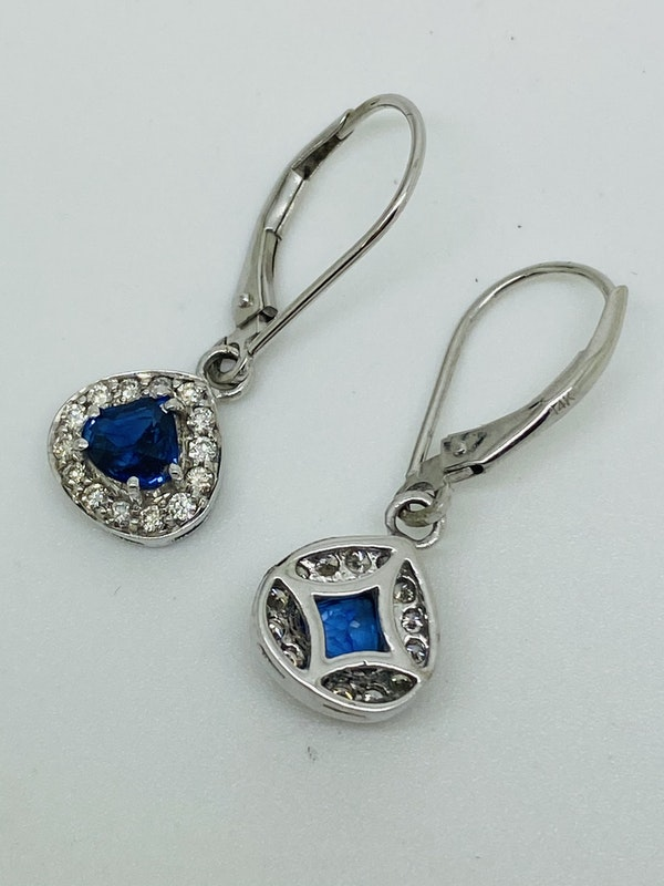 14K white gold Diamond and Natural Blue Sapphire Earrings - image 4