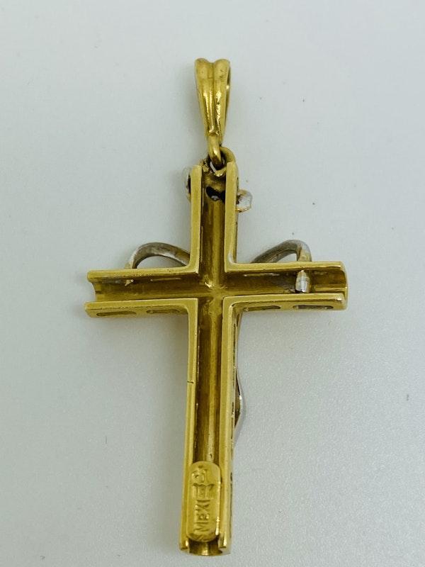 18K yellow gold Diamond Cross Pendant - image 2