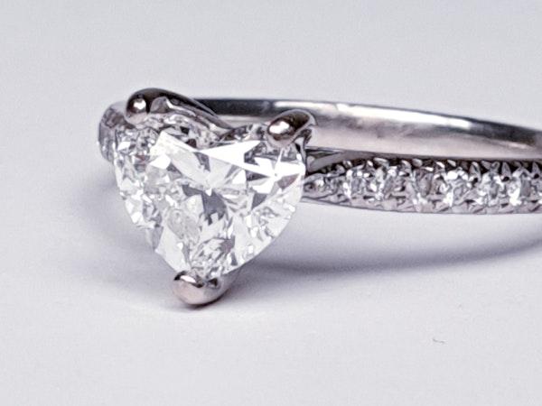 Heart shape F colour Flawless diamond engagement ring  DBGEMS - image 2