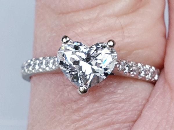 Heart shape F colour Flawless diamond engagement ring  DBGEMS - image 3