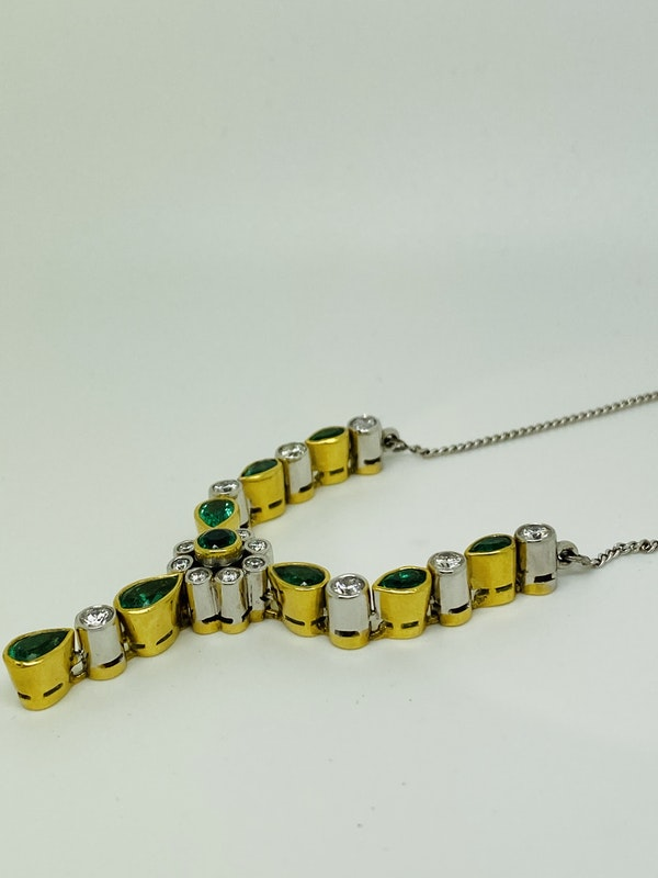 18K white/yellow gold Natural Emerald and Diamond Necklace - image 4