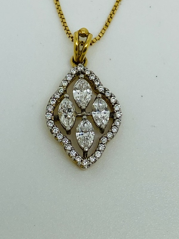 18K white/yellow gold Diamond Pendant - image 1