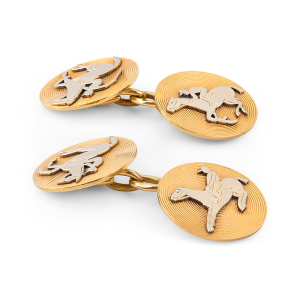 Antique Cufflinks of Racehorses in Platinum and 18 Karat Gold, French circa 1900. - image 3