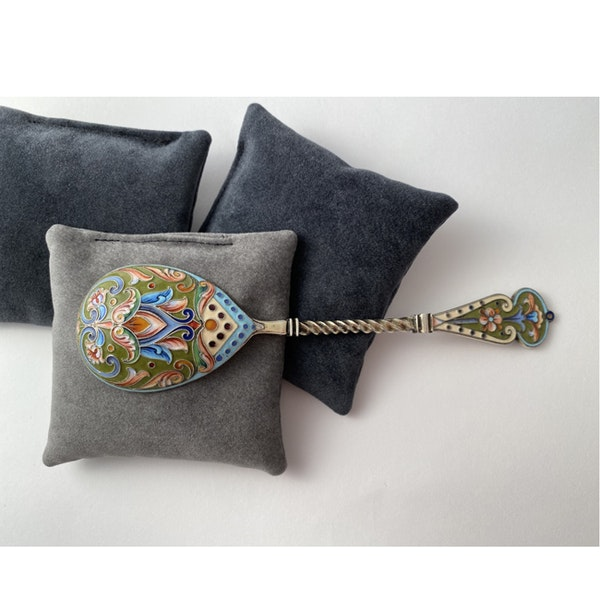 Moscow 1908-1917, Russian Silver Enamel Spoon by Nikolai Alexayev, SHAPIRO & Co - image 6