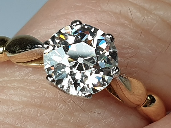 1.35ct old European transitional cut diamond engagement ring  DBGEMS - image 3