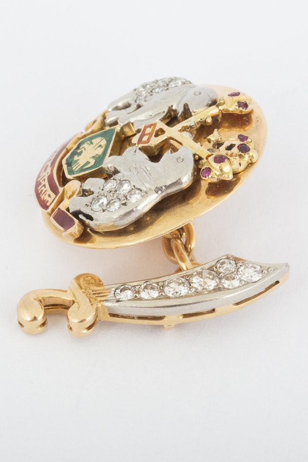 Indian Style Vintage Cufflinks in 18 Carat Gold, Diamonds, Rubies & Enamelling, English* circa 1950. - image 5