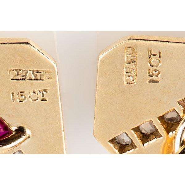 Vintage Art Deco Cufflinks Oblong & Cut Cornered in 15 Carat Gold, Rubies & Diamonds, English circa 1925. - image 4
