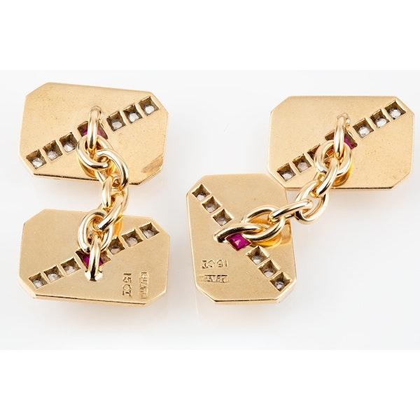 Vintage Art Deco Cufflinks Oblong & Cut Cornered in 15 Carat Gold, Rubies & Diamonds, English circa 1925. - image 3