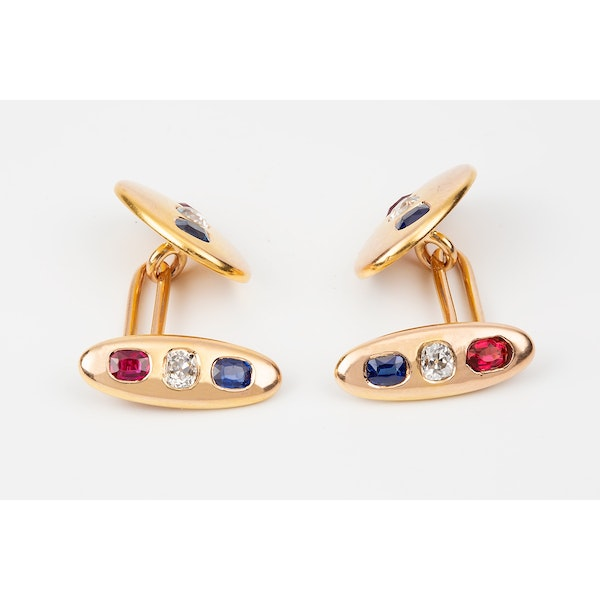 Antique Cufflinks in 18 Carat Gold with Diamond, Ruby & Sapphire, English circa 1900. - image 2