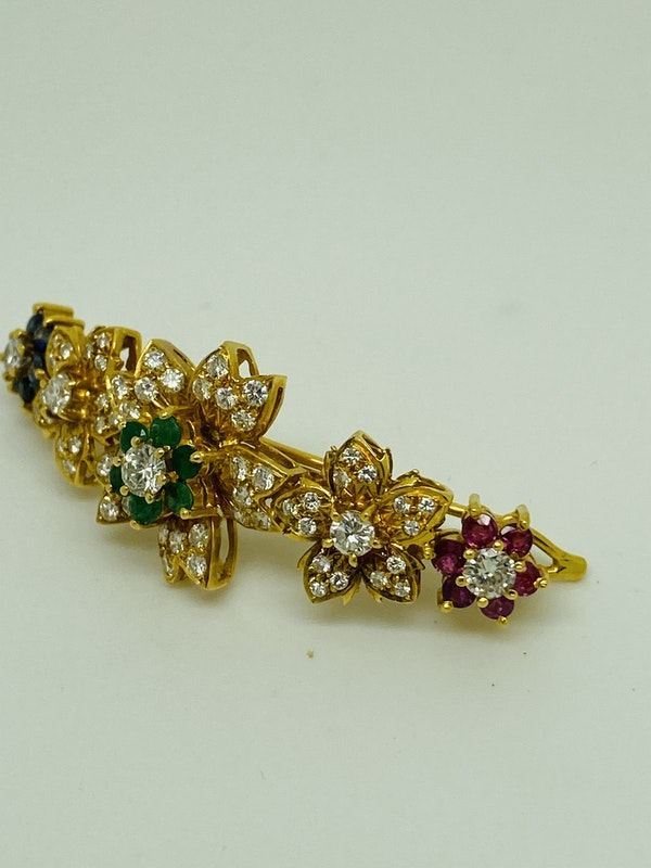 18K yellow gold Diamond, Emerald, Ruby, Sapphire Hair Clip - image 3