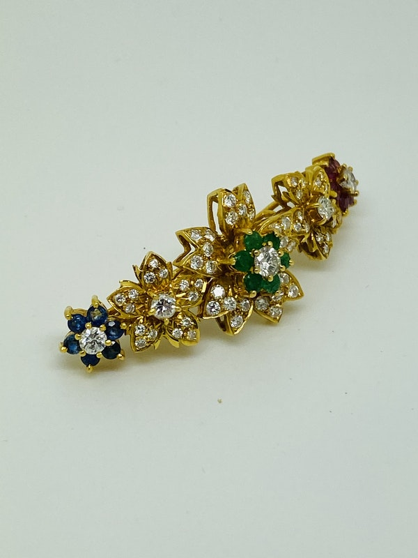 18K yellow gold Diamond, Emerald, Ruby, Sapphire Hair Clip - image 4