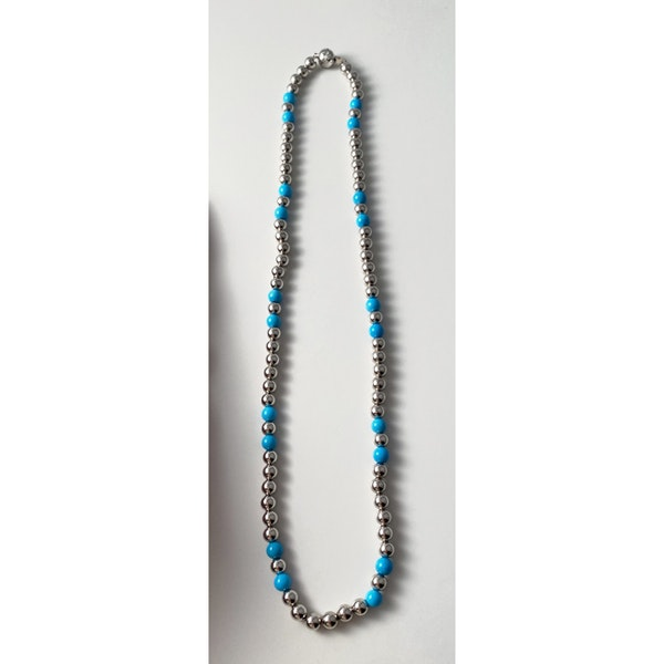 Date 2010's, 18k White Gold Turquoise & Diamond stone set Necklace by Lilly Shapiro ( Dawn Light ), SHAPIRO & Co - image 2