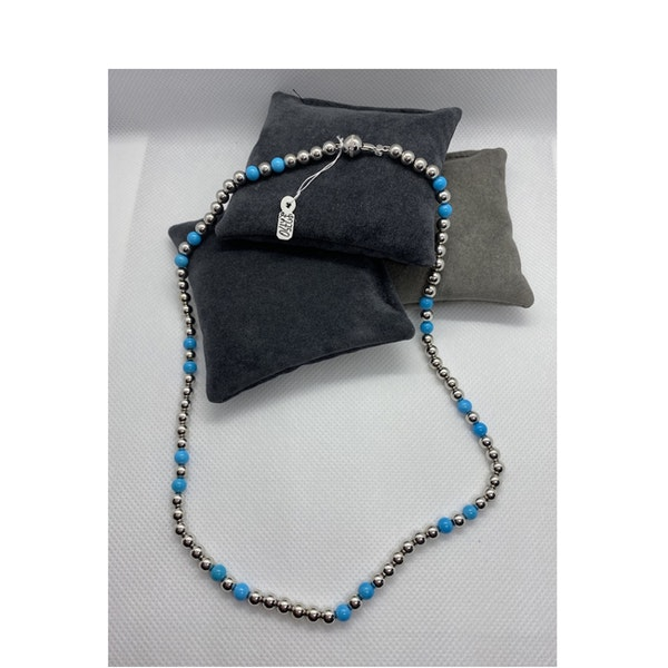 Date 2010's, 18k White Gold Turquoise & Diamond stone set Necklace by Lilly Shapiro ( Dawn Light ), SHAPIRO & Co - image 4