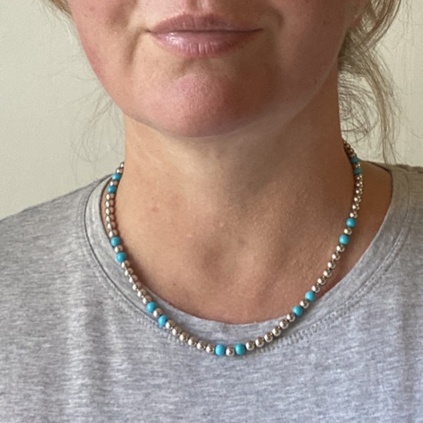 Date 2010's, 18k White Gold Turquoise & Diamond stone set Necklace by Lilly Shapiro ( Dawn Light ), SHAPIRO & Co - image 6