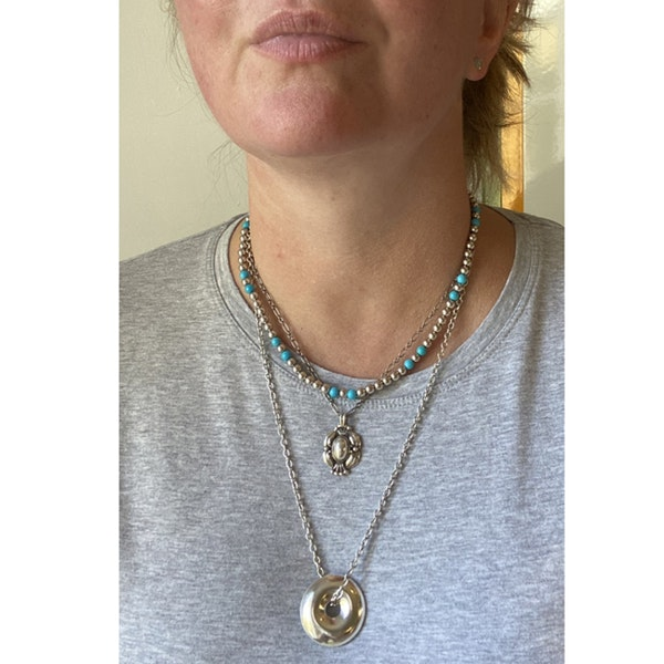 Date 2010's, 18k White Gold Turquoise & Diamond stone set Necklace by Lilly Shapiro ( Dawn Light ), SHAPIRO & Co - image 7