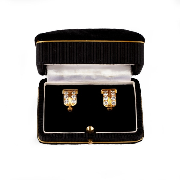 Vintage Creole Shaped Earrings in 18 Karat Gold and Diamonds, French circa 1950. - image 2