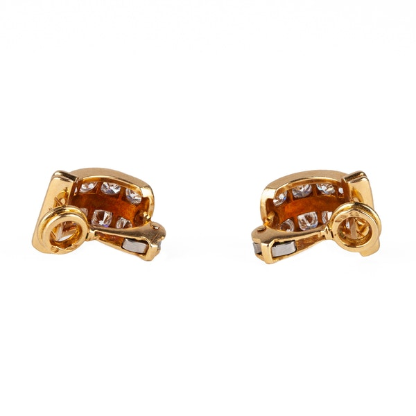 Vintage Creole Shaped Earrings in 18 Karat Gold and Diamonds, French circa 1950. - image 3