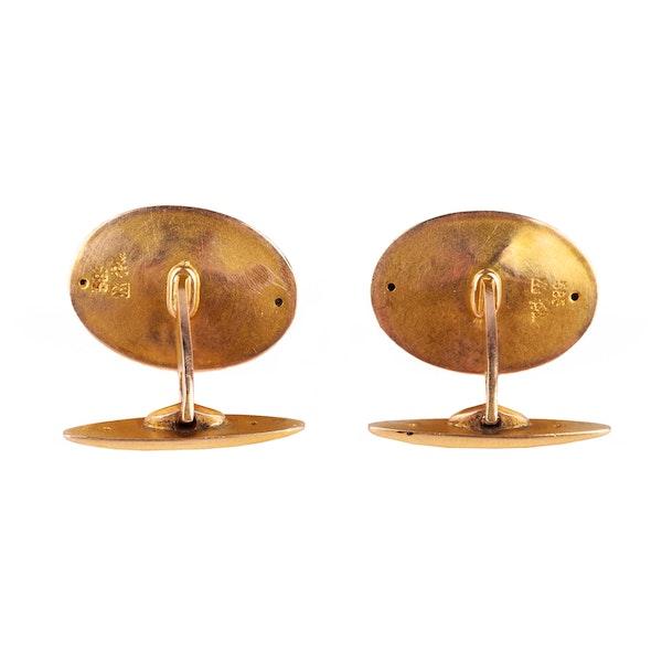 Antique Cufflinks in 14 Karat Gold with Cabochon Sapphire, *Austrian circa 1900. - image 4