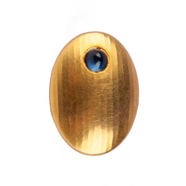 Antique Cufflinks in 14 Karat Gold with Cabochon Sapphire, *Austrian circa 1900. - image 2