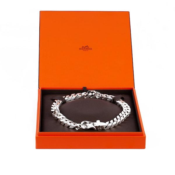 Vintage Hermès Silver Buckle Necklace of Flat Curb Link Design, French 2007. - image 5