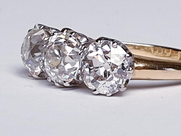Antique diamond trilogy engagement ring  DBGEMS - image 2