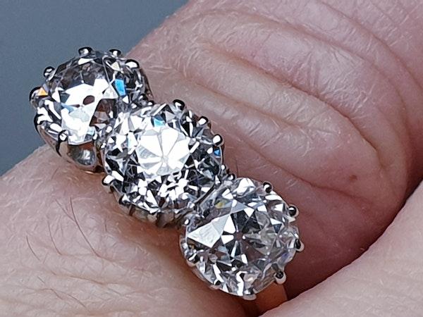 Antique diamond trilogy engagement ring  DBGEMS - image 3