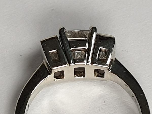 Three stone Emerald cut diamond ring - image 2