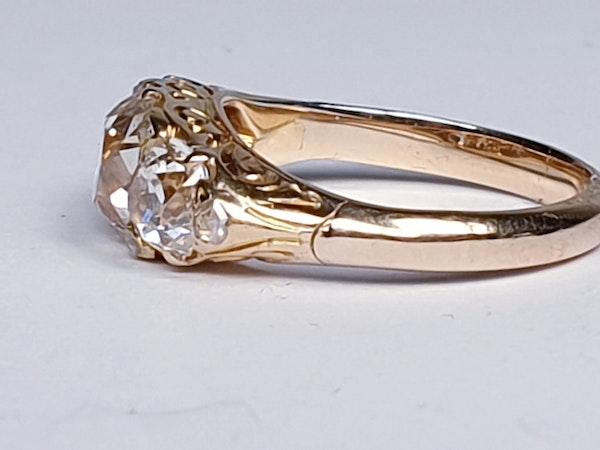 Antique three stone diamond carved half hoop ring  DBGEMS - image 5
