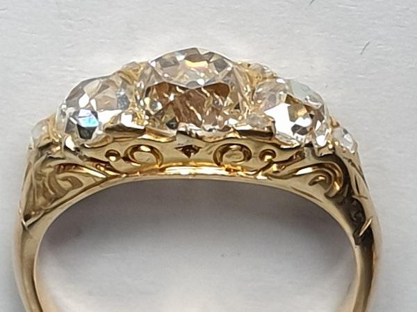 Antique three stone diamond carved half hoop ring  DBGEMS - image 8