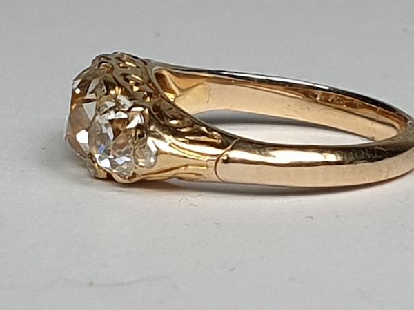 Antique three stone diamond carved half hoop ring  DBGEMS - image 4