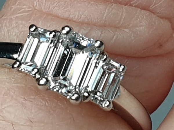 Three stone Emerald cut diamond ring  DBGEMS - image 3