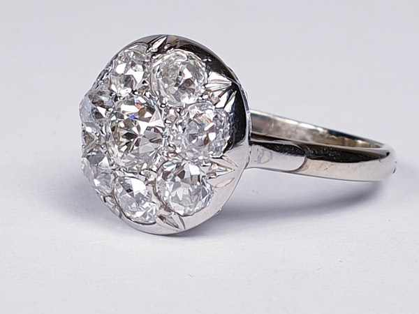 Antique Diamond Cluster Ring  DBGEMS - image 2