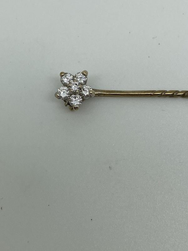 18K yellow gold Diamond Tie Pin - image 3