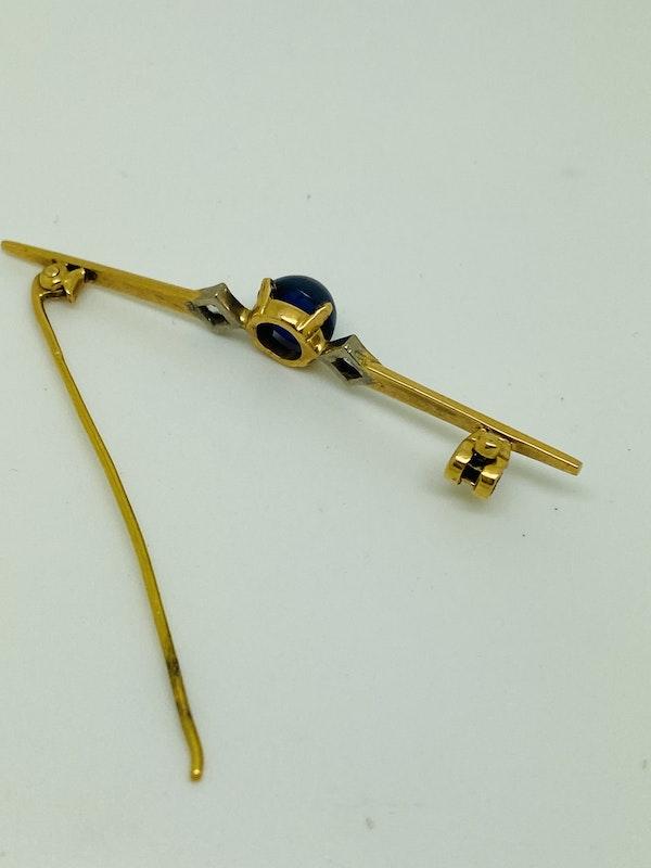 yellow gold Blue Sapphire and Diamond Tie Pin - image 2